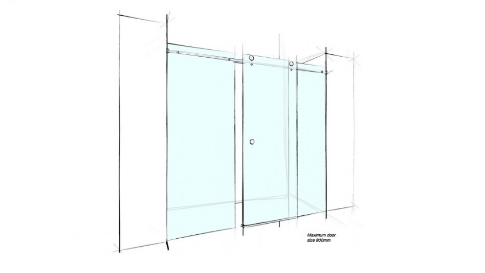 Verotti 2000mm Front Only 3 Panels Frameless Sliding Shower Screen - Clear