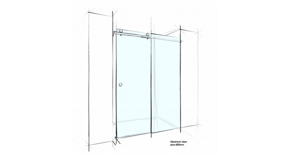 Verotti Custom 2000mm Sliding Wall to Wall 2 Panels Shower Screen - Clear
