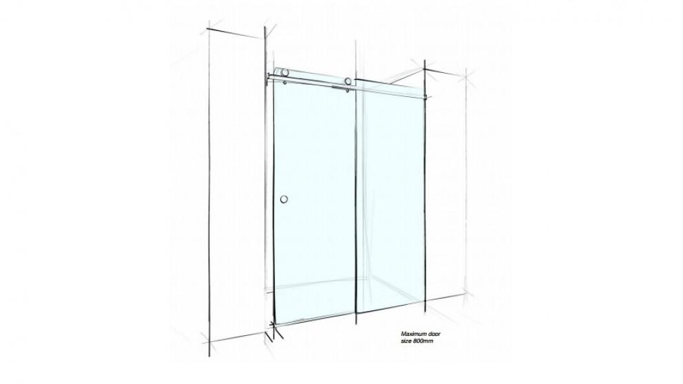 Verotti Custom 2000mm Sliding Wall to Wall 2 Panels Shower Screen - Clear
