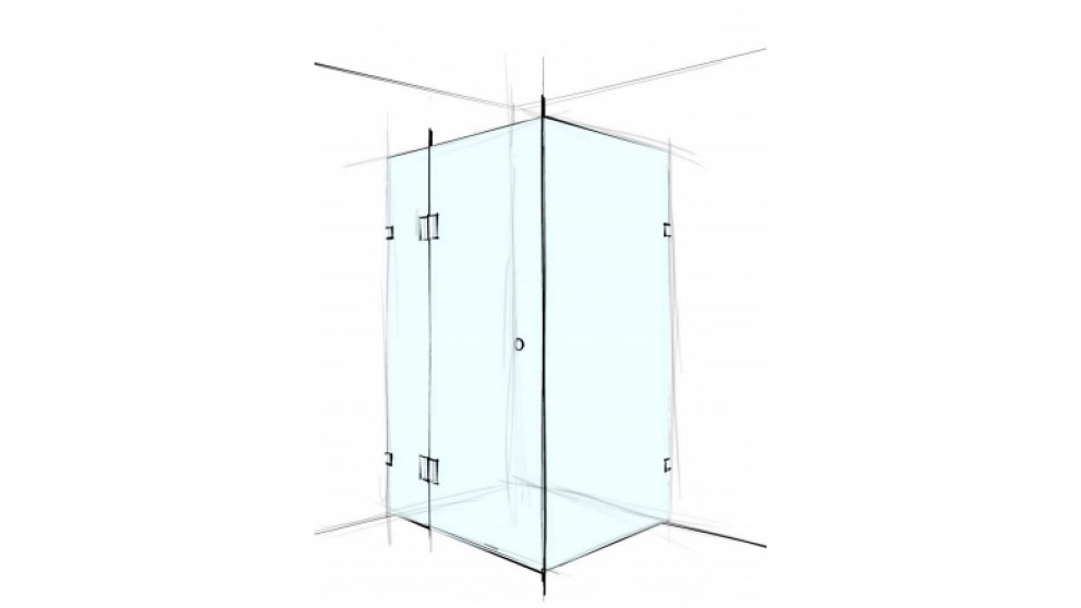 Verotti Custom 1000mm Front/Return Square Corner Set In 3 Panels Bracket Shower Screen - Clear