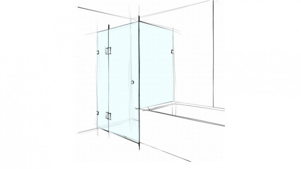 Verotti Custom 1000m Square Corner Set In 3 Panels Bracket Shower Screen - Clear