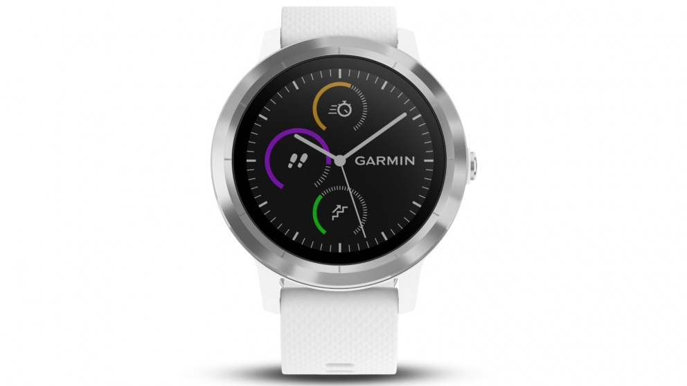Garmin Vivoactive 3 GPS Smart Watch with Activity Tracking - Stainless Steel with White Band