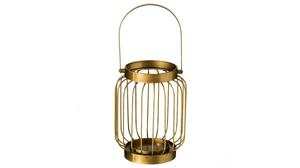 Wire Small Hurricane Candle Holder with Handle - Gold