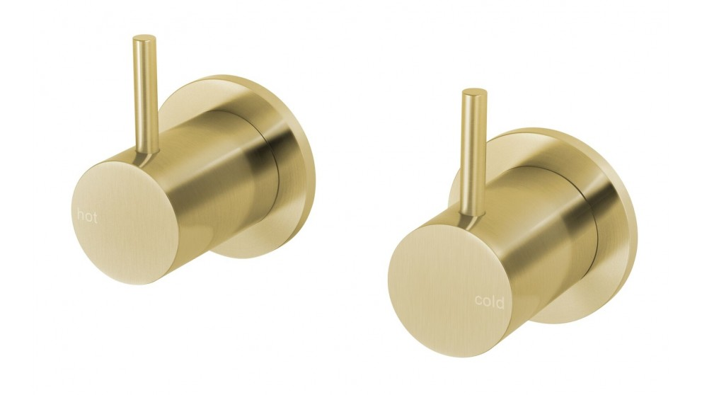 Phoenix Vivid Slimline 15mm Wall Top Assemblies Extended Spindles - Brushed Gold