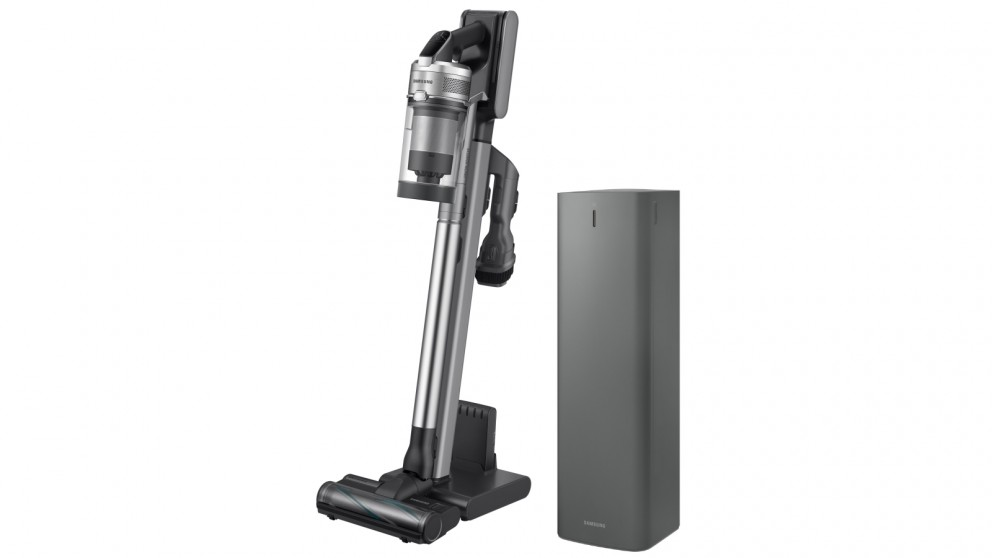 Samsung Jet 90 Pro Stick Vacuum with Spinning Sweeper & Jet Clean Station (Warm Silver)