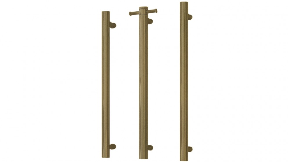 Thermogroup Thermorail 12V Vertical Single Heated Towel Rail - Antique Brass