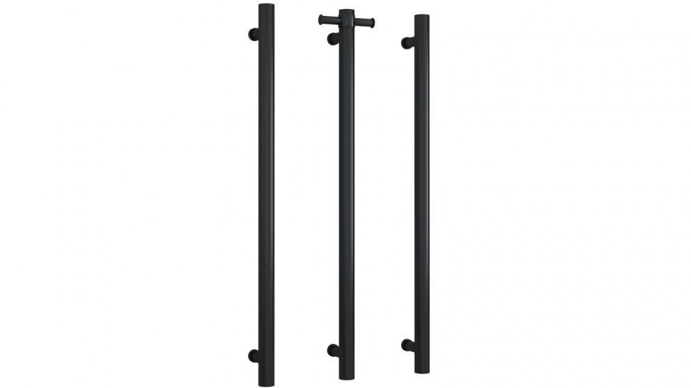 Thermogroup Thermorail Single Bar Round Vertical Heated Towel Rail - Matte Black