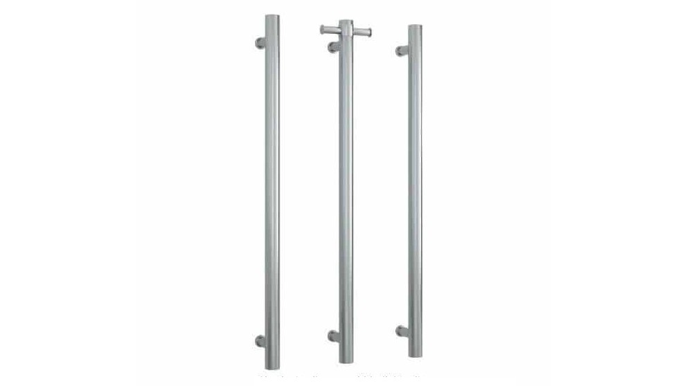 Thermogroup Thermorail Brushed Round Vertical Single Bar Heated Towel Rail