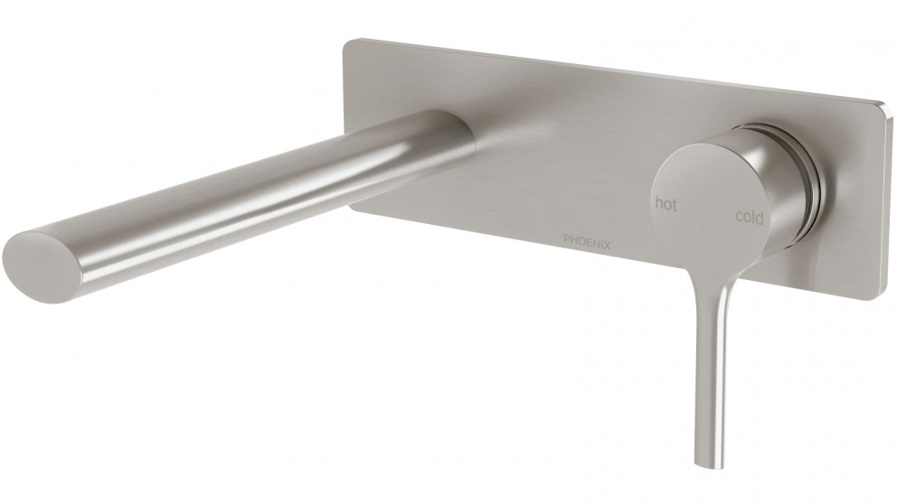 Phoenix Vivid Slimline Oval Wall Basin Mixer Set - Brushed Nickel