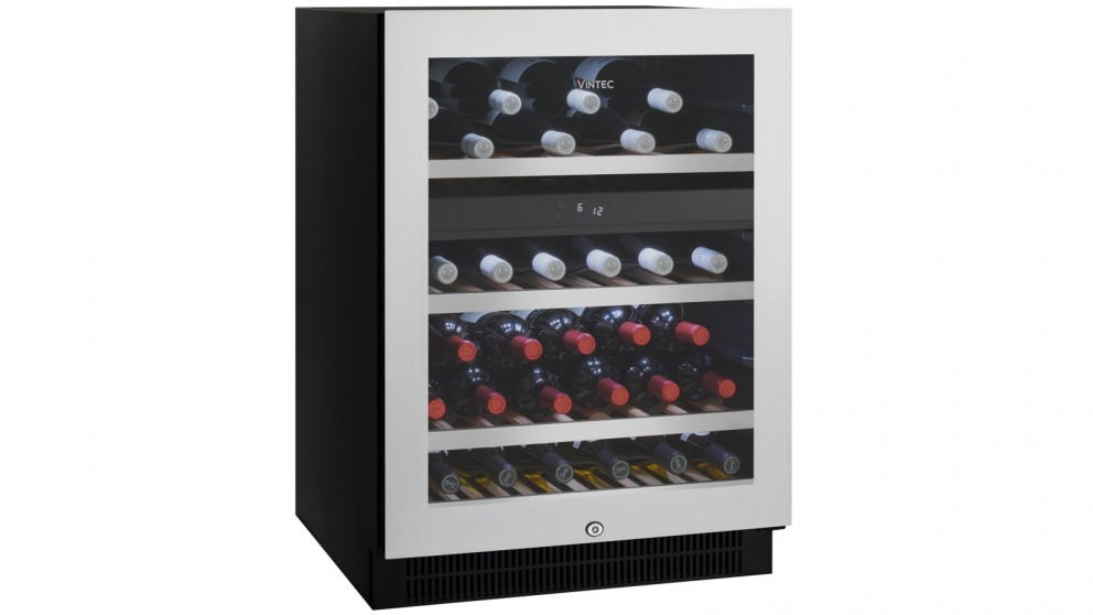 Vintec 50 Bottle Dual Zone Seamless Stainless Steel Wine Cabinet