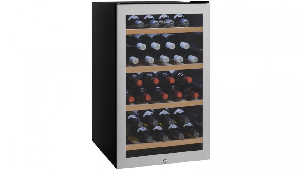 Vintec 35 Bottle Single Zone Seamless Stainless Steel Freestanding Wine Cabinet