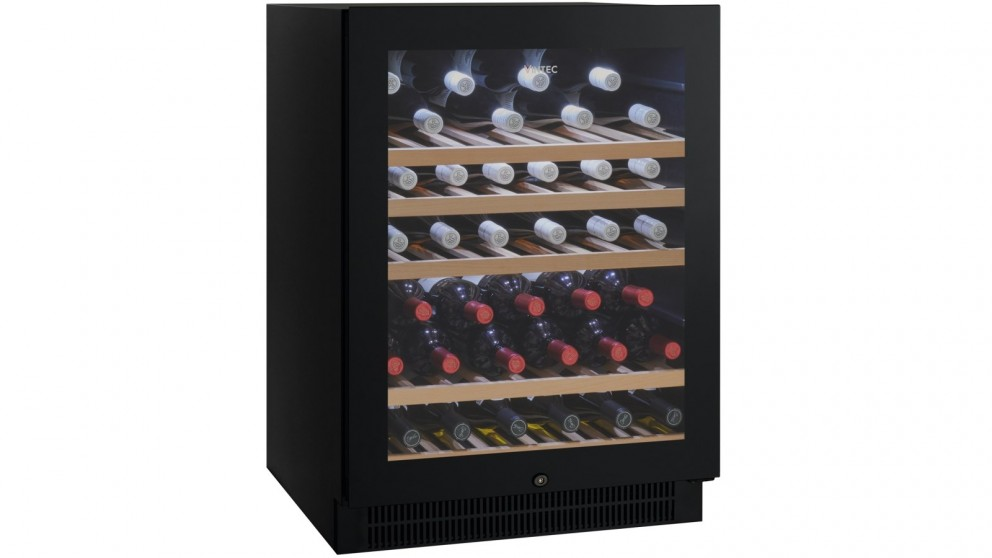 Vintec 50 Bottle Single Zone Borderless Black Glass Wine Cabinet