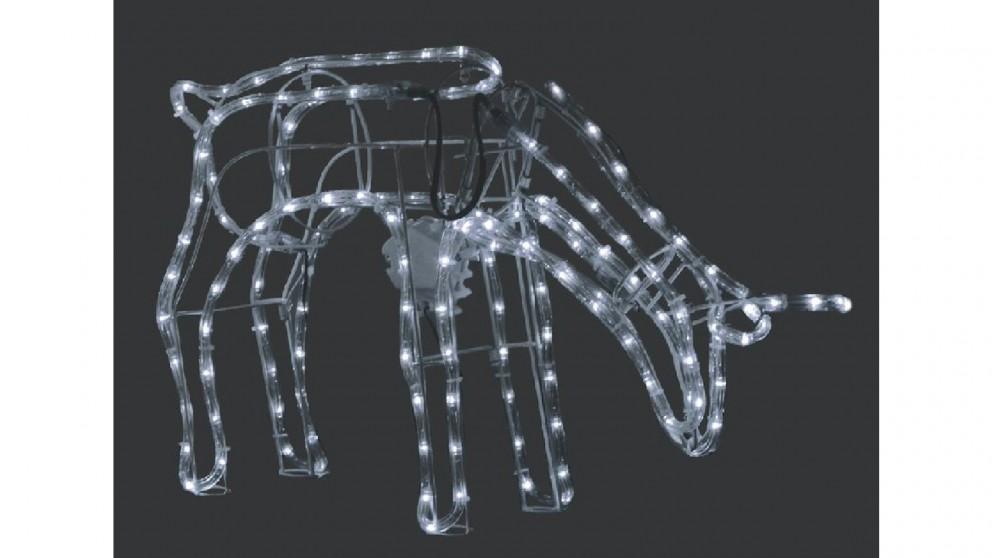 Lexi Lighting 3D Illuminated LED Reindeer Stand Feeding with Motor - White