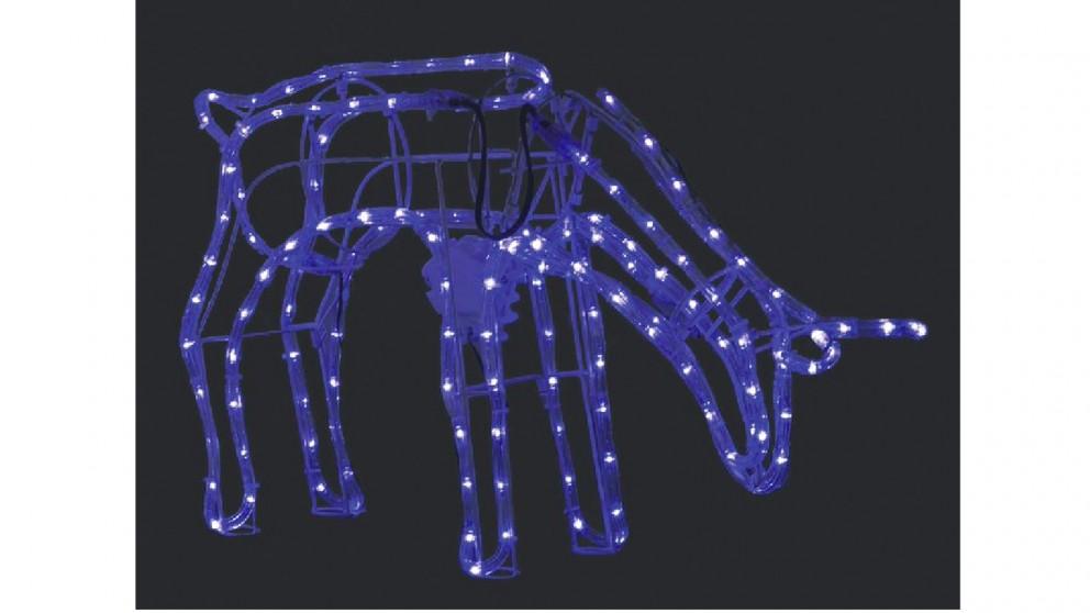 Lexi Lighting 3D Illuminated LED Reindeer Stand Feeding with Motor - Blue