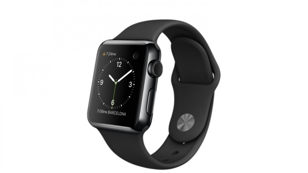 The Original Apple Watch 38mm Space Black Stainless Steel Case With Black Sport Band