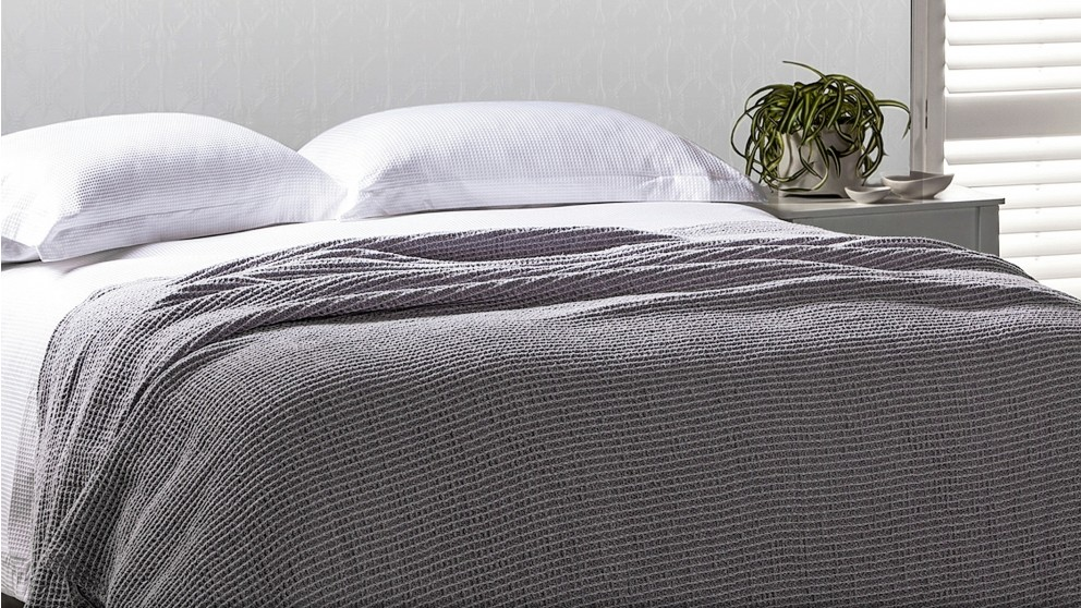 Buy Gainsborough Luxury Cotton Grey Waffle Blanket