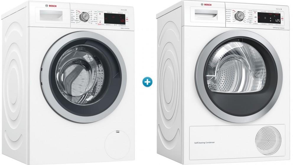 Bosch 9kg Front Load Washing Machine & 9kg Heat Pump Dryer Package