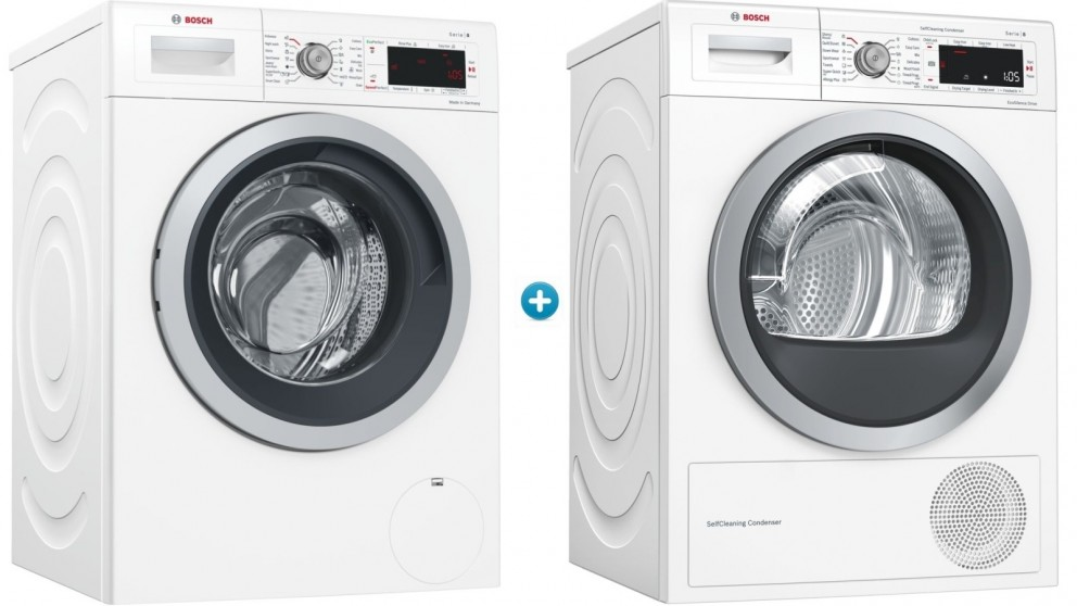 Bosch 9kg Front Load Washing Machine & 9kg Tumble Heat Pump Dryer Package