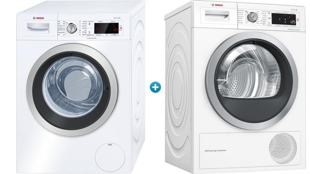 Bosch 8kg Front Load Washing Machine & 9kg Heat Pump Dryer Package