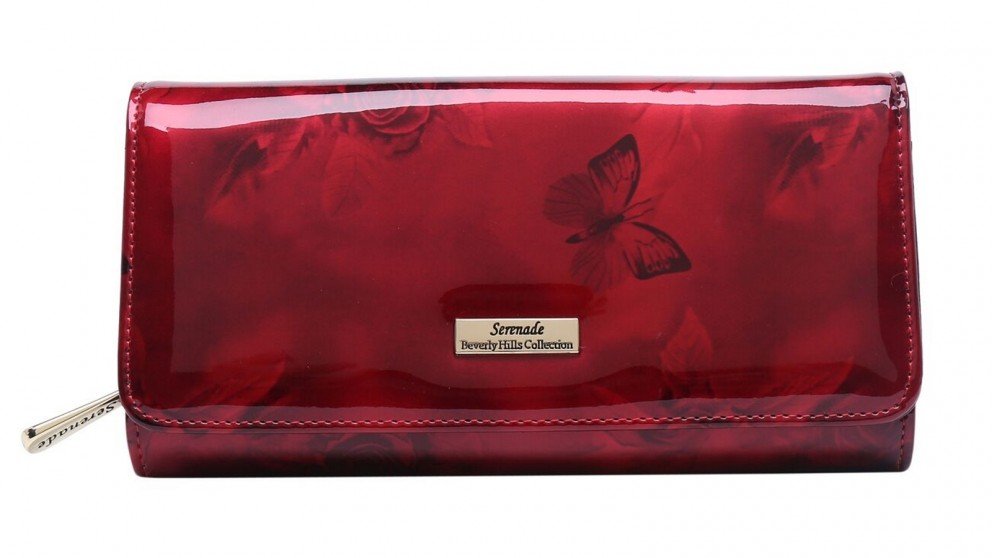 Serenade Cherry Roses RFID Large Leather Wallet with Gold Fitting - Burgundy
