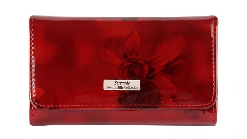 Serenade Cherry Roses RFID Medium Wallet with Gold Fitting - Burgundy