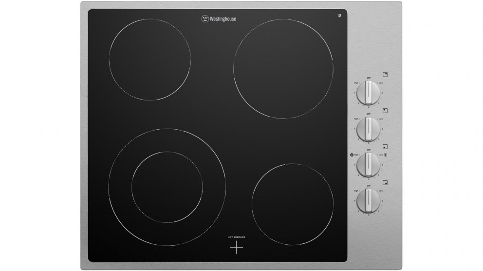 Westinghouse 600mm 4 Zone Ceramic Cooktop with Stainless Steel Trim