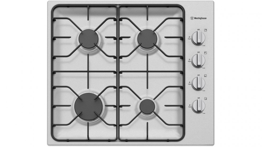 Westinghouse 600mm 4 Burner Stainless Steel Gas Cooktop with Side Knob Control