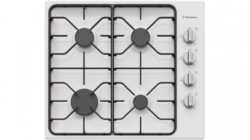Westinghouse 600mm 4 Burner White Enamel Gas Cooktop with Side Knob Control