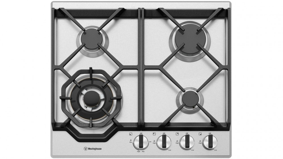 Westinghouse 600mm 4 Burner Stainless Steel Gas Cooktop with Dual Valve Control