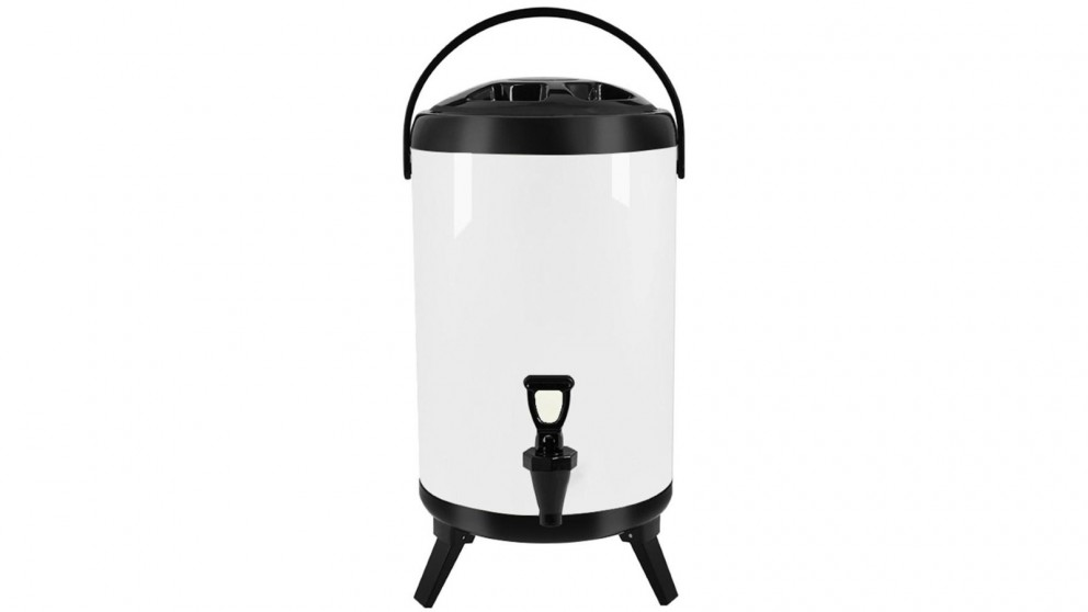 SOGA 14L Stainless Steel Milk Tea Barrel with Faucet - White