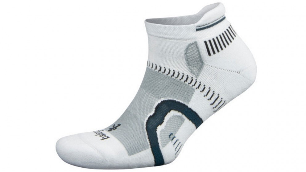 Balega Hidden Contour No Show White/Grey Socks - Extra Large