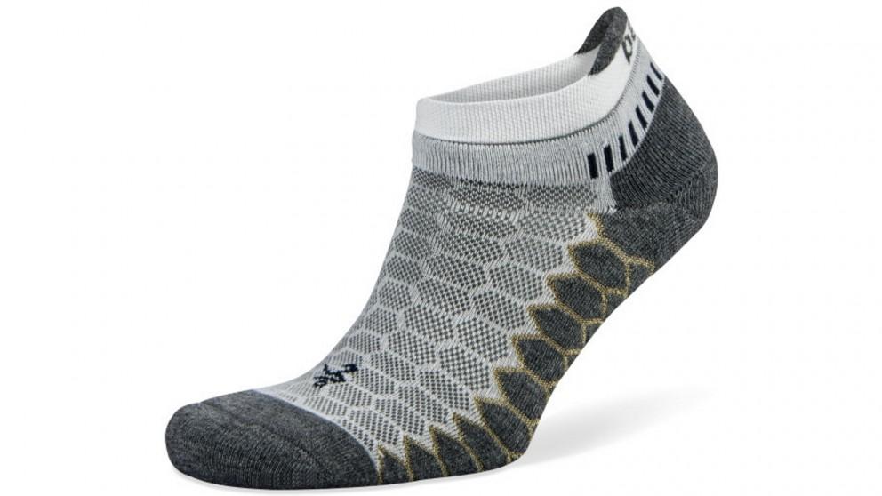 Balega Silver No Show White/Grey Socks - Large