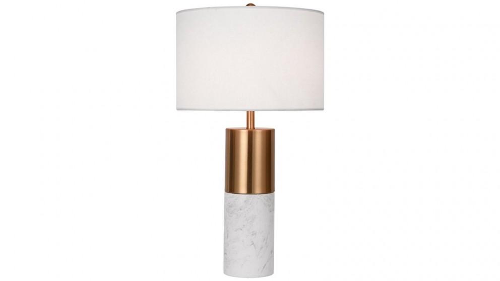 SOGA 60cm Marble Bedside Desk Table Lamp - White