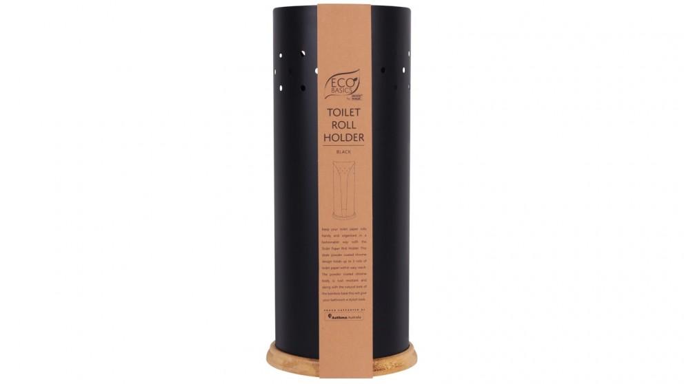 White Magic Eco Basics Toilet Roll Holder - Black