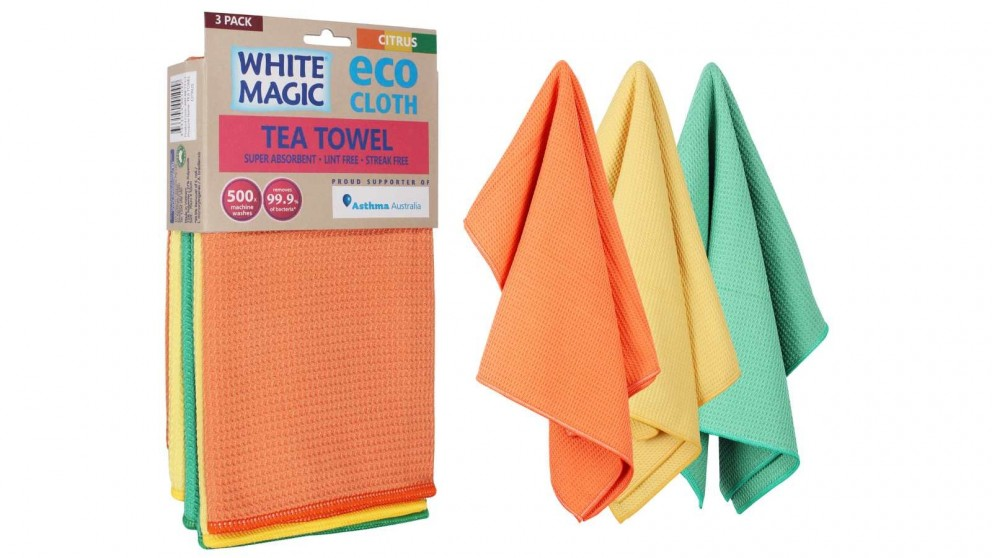 White Magic Eco Cloth 3 Pack Tea Towel - Citrus