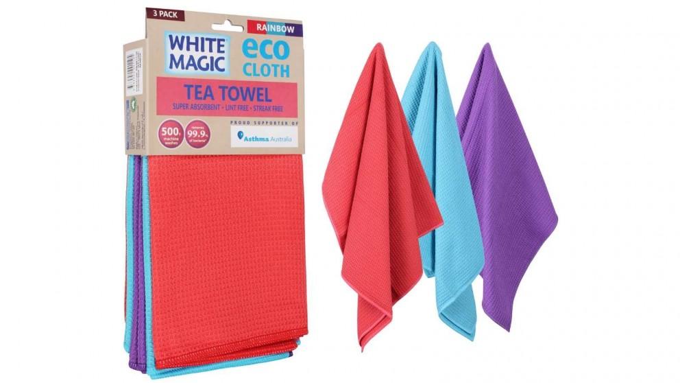 White Magic Eco Cloth 3 Pack Tea Towel - Rainbow