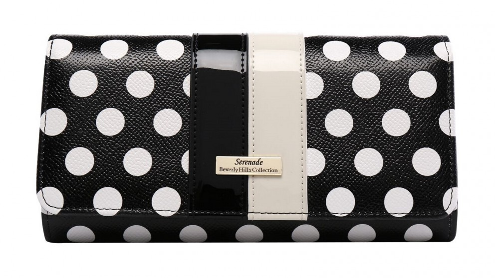 Serenade Trixie RFID Large Leather Wallet - Black/White