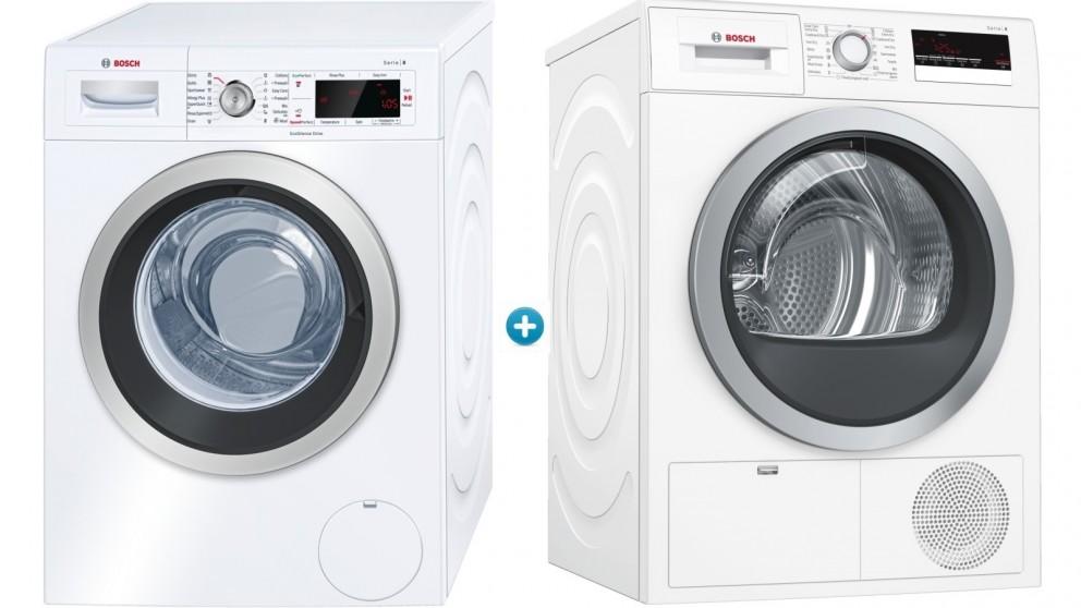 Bosch 8kg Front Load Washing Machine plus 8kg Heat Pump Dryer Package