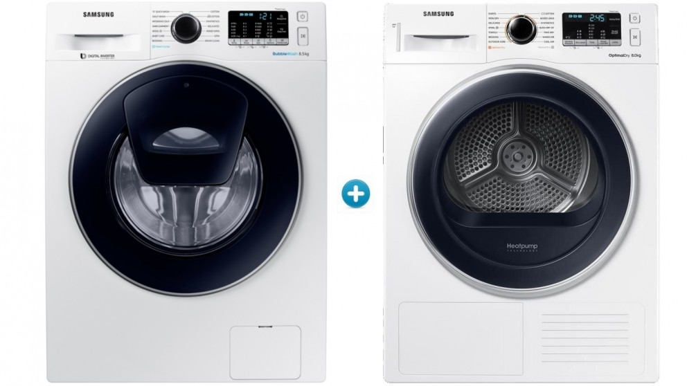 Samsung 8.5kg Front Load Washing Machine with 8kg Heat Pump Dryer