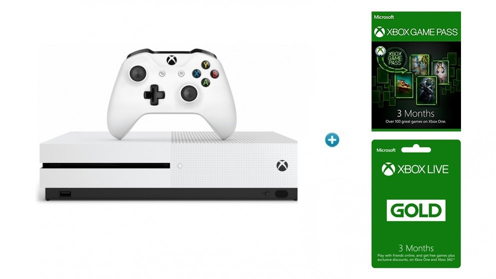 Xbox One S 1TB Console + Bonus 3 Months Game Pass & 3 Months Xbox Live Gold Subscription