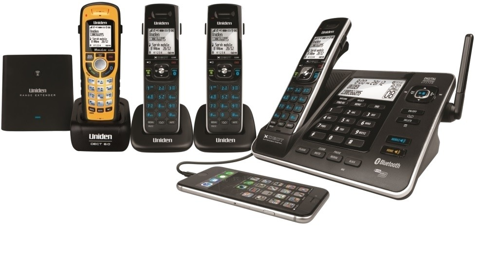 Uniden XDECT8355+3WP Digital Cordless Phone System with Waterproof Handset