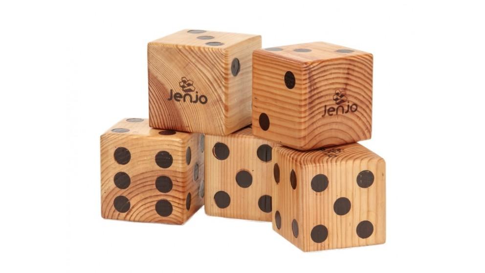 Jenjo Giant Yahtzee Wooden Dice Game Set with Scorecards