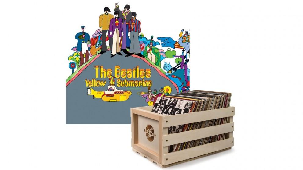 Crosley Record Storage Crate & The Beatles Yellow Submarine - Vinyl Album Bundle