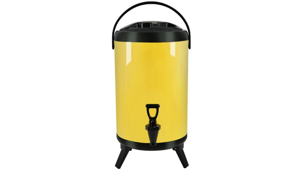 SOGA 10L Stainless Steel Milk Tea Barrel with Faucet - Yellow