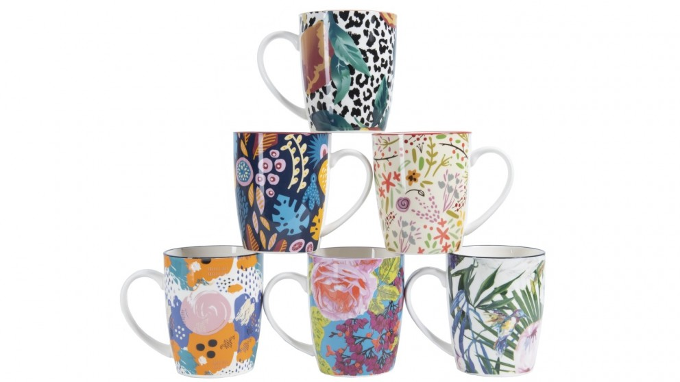 Cooper & Co. Floral Ceramic Coffee Mugs - Set of 6