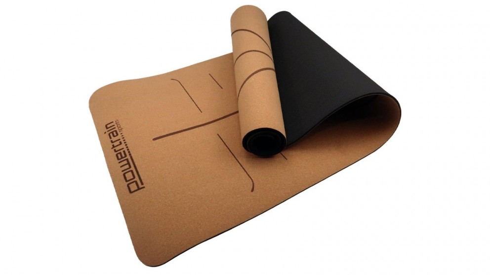 PowerTrain Cork Yoga Mat with Carry Straps Body Line