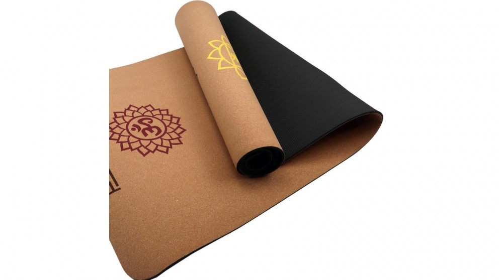 PowerTrain Cork Yoga Mat with Carry Straps Chakras