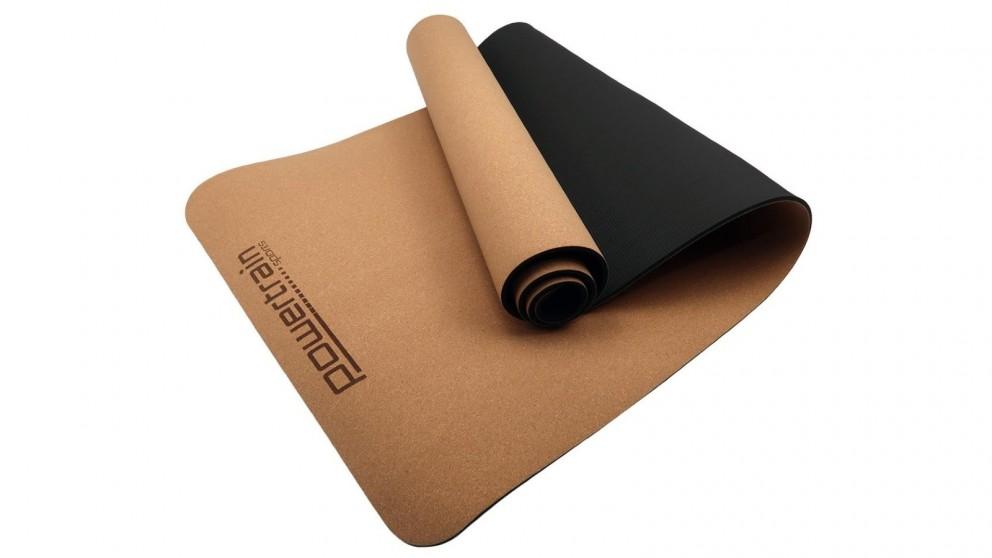 PowerTrain Cork Yoga Mat with Carry Straps Plain