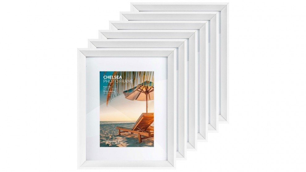 Cooper & Co. Premium 6 Pack 20x25cm Mat To 13x18cm Gallery Photo Frame Set - White