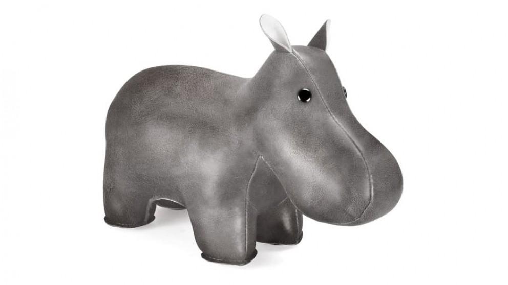 Zuny Shine Hippo Bookend - Chrome/White